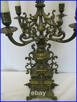 Vintage Italian Brevettato Baroque Brass Candelabra Ornate Design Over 24 Tall