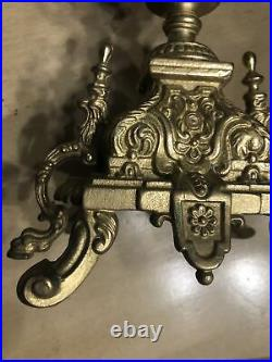 Vintage Italian Brevettato Baroque Brass Candelabra Ornate With Snuffer