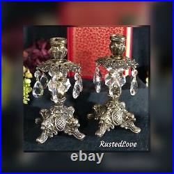 Vintage Italian Candle Holders Gilt Baroque With Hanging Crystals a Pair