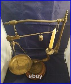 Vintage Italian Chapman Brass Balance Scale & Candle Holder
