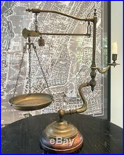 Vintage Italian Chapman Industrial Arms Brass Balance Scale & Candle Holder