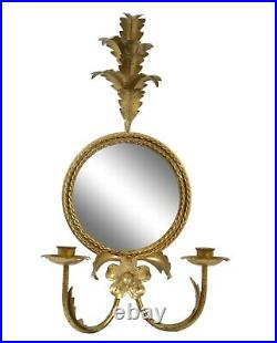 Vintage Italian Gilt Gold Tole Mirror Candle holders Leaves Made in Italy