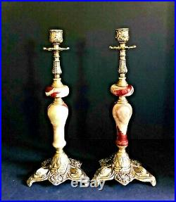 Vintage Italian Onyx and Brass Candlesticks with Koi Fish or Dolphin Detail