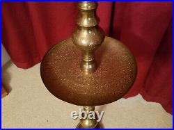 Vintage Large 40 Etched Brass Candle Holder Floor Altar Pillar Church Temple