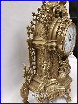 Vintage Large Brass Grand Clock And Candelabra Set