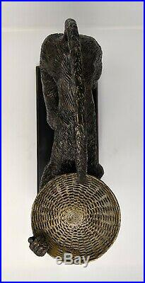 Vintage Large Bronze Monkey Candle Holder Brass Simian Butler Metal Decor
