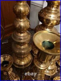 Vintage Lot 19 Mixed Brass Candlesticks Holders Wedding Decor Candleholders