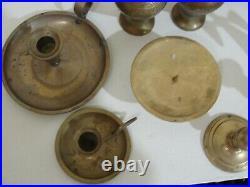 Vintage Lot 26 Pc. Brass Candle Stick Holders Vase Tidbit Wedding Table Decor