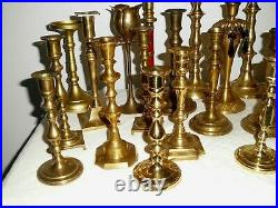 Vintage Lot 28 Tall BRASS Candle Holders Candlesticks Wedding Home Decor 8 Pairs