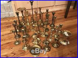 Vintage Lot 31 Brass Candlesticks Holders Wedding Table Decor Patina Candle