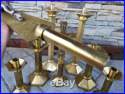 Vintage Lot 6 Brass Candlestick Candle Holder 2 Cross Crucifix Set Altar Church
