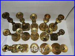 Vintage Lot of 15 Massive, Tall, Substantial Brass Candlesticks Weddings 19 Lbs