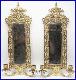 Vintage Lot of 2 Mirror Ornate Brass Candleholder Sconce Hollywood Regency