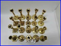 Vintage Lot of 20 Solid Brass CandleSticks Holders Wedding Table Decor Lot 3