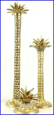 Vintage MAITLAND SMITH Lot 3 BRASS Palm Tree Candle Holders Pricks Candlesticks