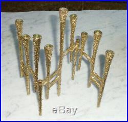 Vintage MCM Brutalist Cast Iron Metal 3 Panel Articulating Folding Candle Holder