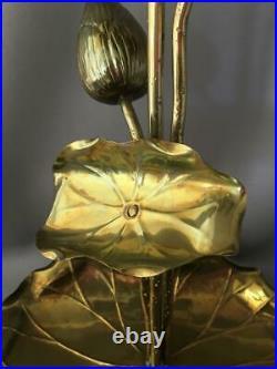 Vintage MID Century Feldman Co. Brass Lotus Blossom Flower Table Lamp Sculpture