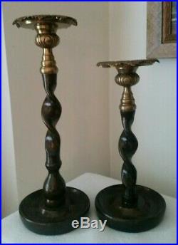 Vintage Maitland Smith Bronze & Brass Barley Twist Candle Holders PAIR