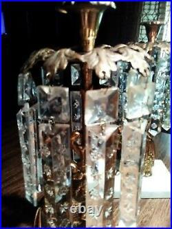 Vintage Marble Base Brass Candlestick Holders With 10 Crystal Prisms Set Of 2
