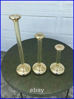 Vintage Mid Century 3 Dolbi Cashier 1987 Brass And Lucite Candlsticks 3 Sizes