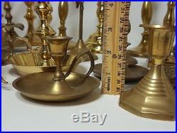 Vintage Mixed Brass Candlesticks Lot Of 26 Rustic Patina Wedding