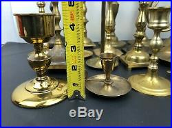 Vintage Mixed Lot 20 Solid BRASS Candlestick Holders Party Weddings Event A