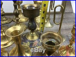 Vintage Mixed Lot 24 BRASS Candlestick Holders Some Thin Tapered Party Wedding