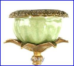Vintage / Modern Porcelain Ormolu Brass Bronze Candlestick With Flowers
