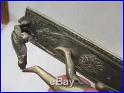 Vintage Nickel Brass Candle Holders Candlesticks Sconce Cherub Flowers Floral