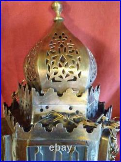 Vintage Old Brass Middle Eastern Hanging Lamp Candle Holder Lantern Light