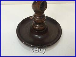 Vintage Open Barley Twist Wooden Candlesticks Candle Holder Brass, 15 Tall