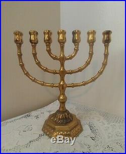 Vintage Ornate Brass 7 Branch Candle Holder Menorah Candelabra