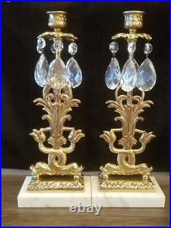 Vintage Ornate Girandole Brass Crystal Marble Candelabra Candle Holder Set of 2