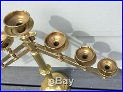 Vintage PAIR Adjustable Brass 7 Candle Holders From Local PA Church Candelabra