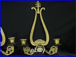 Vintage PAIR OF SOLID BRASS CANDLE HOLDER WALL SCONCES
