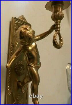 Vintage Pair 12 Wall Mount Solid Brass Cherub Candle Holder Wall Sconces ITALY