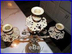 Vintage Pair (2) Ornate Brass Candelabras Candle Sticks 18 3/4 Tall