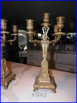 Vintage Pair (2) Ornate Brass Candelabras With Cherub 16 Tall 5 Candle Holder