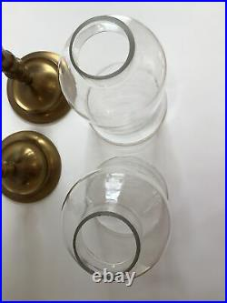 Vintage Pair Antique Brass Candle Holders Table Sconces, Glass Hurricanes 20.5