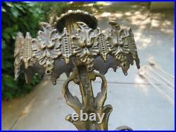 Vintage Pair Antique Cast Bronze Brass Girandole Candelabra Candle Holder