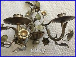 Vintage Pair Beautiful Brass Candelabra Wall Sconces 3 Candle Floral Vine ITALY