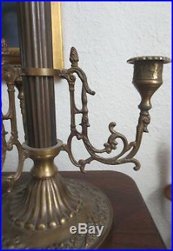 Vintage Pair Bombay Company Ornate Brass Candelabras 21