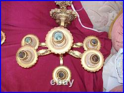Vintage Pair Brass 6 Arm Wall Sconce Candelabra Candle Holder Large Heavy Gold