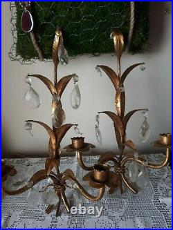 Vintage Pair Brass Metal Wall Sconces Candle Holder Italy