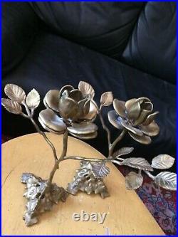 Vintage Pair Brass Rose CandleStick Holders Wedding