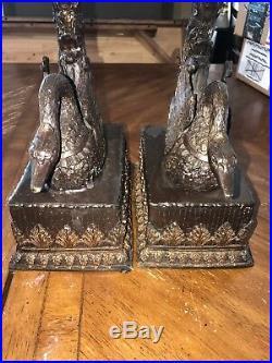 Vintage Pair Large 30 Brass Candelabra Swans Art Deco Candle Holders Rare