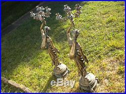 Vintage Pair Large Cast Brass Candelabra Statues Art Deco Candle Holders 44