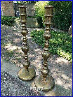 Vintage Pair Large Etched Brass Floor Candlesticks Candle Holders 36 Tall