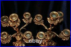 Vintage Pair Louis XV Rococo Ornate Brass Candelabras with Ram's Heads 19 tall