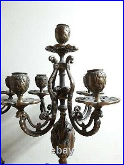 Vintage Pair Of 5 Arm Brass Candlestick Candelabras Candle Holder Beautiful